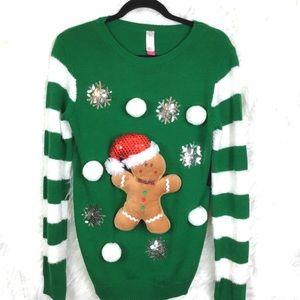 NWT No Boundaries Gingerbread Christmas sweater